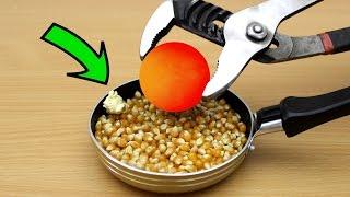 EXPERIMENT Glowing 1000 degree METAL BALL vs Popcorn
