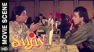 Salman acts blind to hug a girl | Salman Khan, Sanjay Dutt | Saajan | Movie Scene