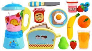 Toy Blender & Toaster Playset Pretend Play Learn Colors & Fruits with Wooden Velcro Toys & Play Doh