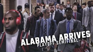 Watch a business-like Alabama team arrive for the College Football Playoff Semifinal
