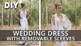 Sewing Wedding Dress with Removable Sleeves