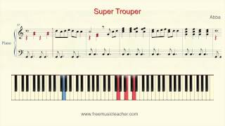 """How To Play Piano: Abba """"Super Trouper"""" Piano Tutorial by Ramin Yousefi"""