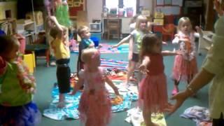 Preschool class doing the Hawaiian Dance