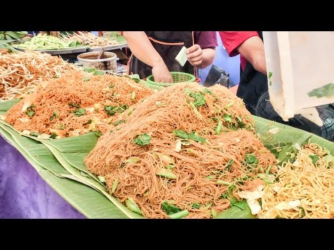 Bangkok Street Food. Cooking Five Types of Noodles. Thailand