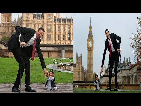Rare photo... दुनिया का सबसे छोटा और बड़ा आदमी एक साथ | Shortest & Longest Man Clicked Together