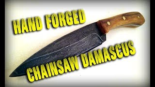 Hand Forging A Damascus Knife from a Chainsaw Chain
