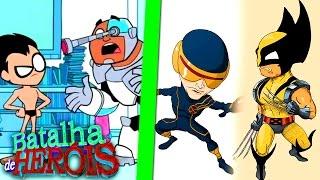 Minecraft : WOLVERINE e CYCLOPS vs ROBIN e CYBORG - BATALHA DE HERÓI ( X-Men vs Teen Titans )