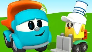 Leo the truck. Car cartoon and colors for kids. Learn colors with Leo the truck. Leo paints Lifty.