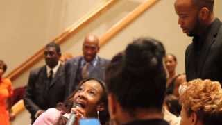 Le'Andria Johnson singing at Dr. Dorinda Clark Cole's appreciation