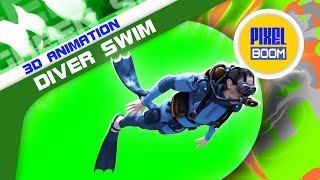 Green Screen Diver Swim Scuba Diving Cylinders - PixelBoom