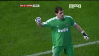 Iker Casillas great reaction save on newspaper attack [HQ]
