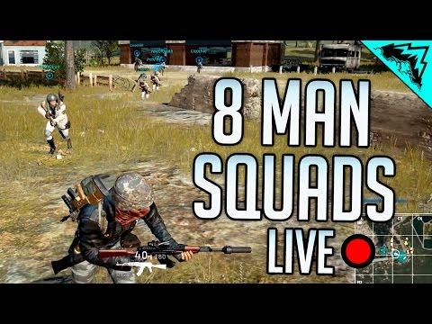 8 MAN SQUADS - Player Unknown's Battlegrounds LIVE Open Lobby w/ StoneMountain64