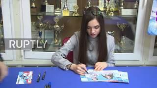 Russia: Figure skater Evgenia Medvedeva casts ballot in presidential election
