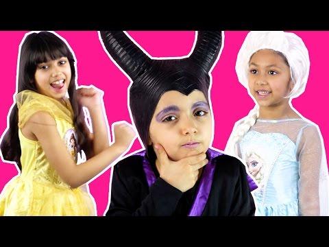 PRINCESS DANCE OFF - Maleficent Vs. Elsa Vs. Belle - Candy Surprise Prize! - Princesses In Real Life