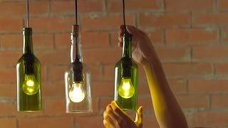 DIY Hanging Wine Bottle Pendants