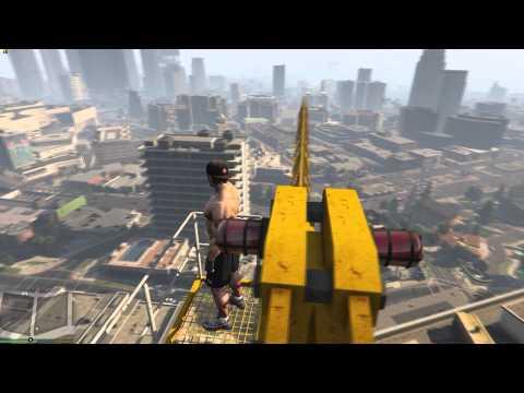 GTX 980 Ti - GTA5 4K res Max Settings BabyD Riot Mod Crane Jump