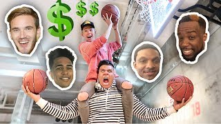 IMPOSSIBLE YOUTUBERS BASKETBALL TRICK SHOTS CHALLENGE!! **LOSER PAYS $500**