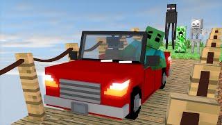 Minecraft : DIRIGINDO CARROS EM PONTES !! ( Poly Bridge Minecraft ) - Escola Monstro Férias #03