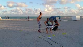 Brazilian model Julia Pereira enjoys her fun exercise routine in South Beach!