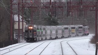 NJ Transit HD 60 FPS: Snowy Morristown Line Evening Action @ South Orange (3/15/17)