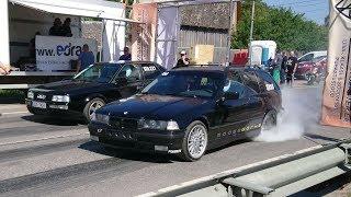 BMW E36 318i Turbo vs Audi 90 Quattro B3 2.2t 20v 1/8 mile drag race