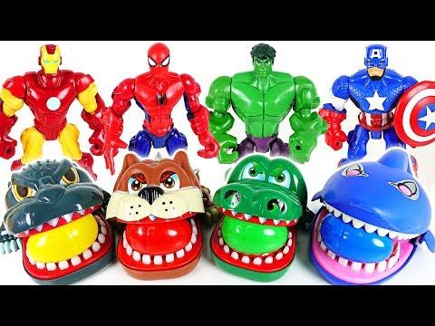 Marvel Avengers Hulk, Spider Man and terrible crocodile, dinosaur, shark surprise egg - DuDuPopTOY