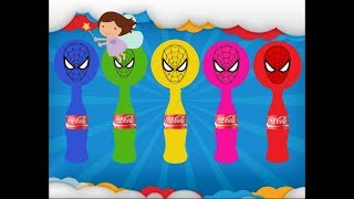 Learn colors with Spiderman Balloons, Coca Cola - Wrong Heads Spiderman