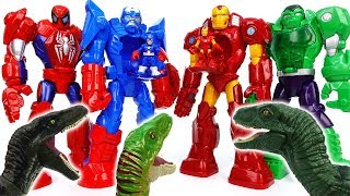 Thanos & Dinosaurs Attack~! Avengers, Defeat Dinosaurs With Mech Armors - ToyMart TV