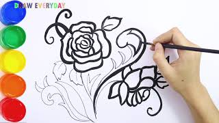 How To Draw Glitter and Color a Rose for kids || Draw Everyday
