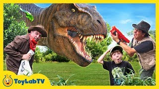 Giant Life Size T-Rex Chase & Brachiosaurus Dinosaur in Fun Jurassic Dinosaurs Video for Kids