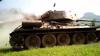 T-34/85, DP-27 DP-28 gunner headcam - reenactment battle Zazriva 2012