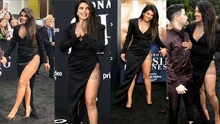 Priyanka Chopra In Thigh High Slit Dress With Husband Nick Jonas At Chasing Happiness Premier