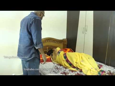 Indian beautiful housewife with husband friend in bedroom  Telugu romance  mp4