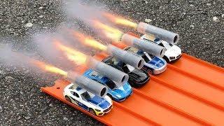 HOT WHEELS POLICE CARS ROCKET POWERED RACE !!