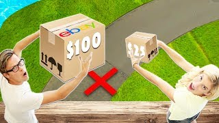 Dropping then Unboxing Ebay Mystery Box $25 vs. $100 from 60 ft. High!  (will it break?)