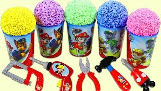 Paw Patrol Play Foam Surprise Cups Opening with Disney Mickey Mouse Pretend Tools!
