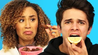 BLINDFOLD FOOD GUESSING ft. MyLifeasEva and Brent Rivera | Brent vs Eva