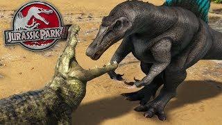 JURASSIC PARK 3 SPINOSAURUS Vs SUPER CROC!!  - ARK Survival Evolved