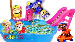 Paw Patrol Skye & Chase Skateboard Pool Swimming Party with Orbeez
