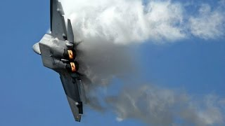 F-22 Raptor In Action - F-22 Raptor Planes Vertical Take Off, Sonic Boom Sound Barrier Breaks & CO