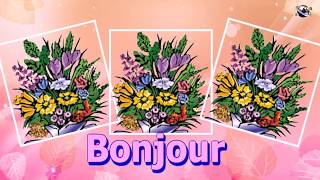 French Language Good Morning Flowers greeting  video  for  everybody everyone