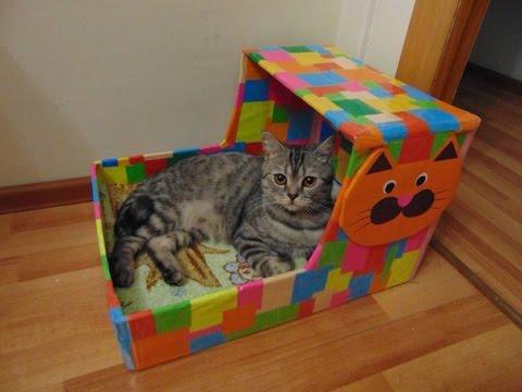 Домик для кошки с котенком своими руками