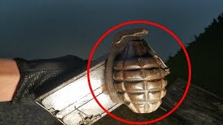 (CAUGHT GRENADE) Magnet Fishing Bridge! Ditched Stolen Goods and Weapons