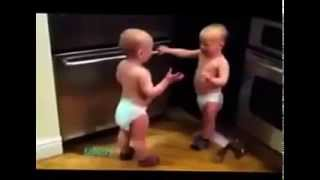 Two really funny kids fighting with each other