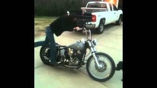 pootergirl kick starts motorcycle