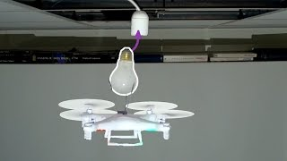 Replacing a lightbulb with a drone