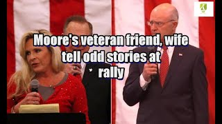 Moore's veteran friend, wife tell odd stories at rally