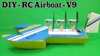 How to make a RC Airboat Three 180 Motor - version 9