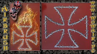 """Airbrush by Wow No.899 """" Iron Cross barbed wired and fire """" english commentary"""