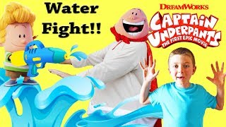 DREAMWORKS Captain Underpants epic kids water battle! Silly Family  video